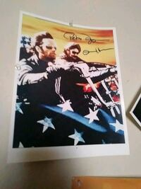 autographed of two male riding cruiser motorcycles poster