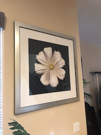 white petaled flower painting with white wooden frame Las Vegas, 89135