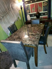 rectangular brown marble top table with chairs St. Louis, 63141