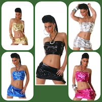 2-TLG GOGO-SET TOP+ROCK  METALLIC-LOOK *5 Farben