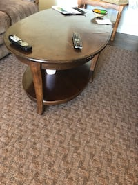 round brown wooden side table Calgary, T2E