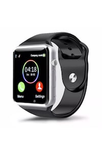 black and silver smart watch new works with iPhone and Samsung