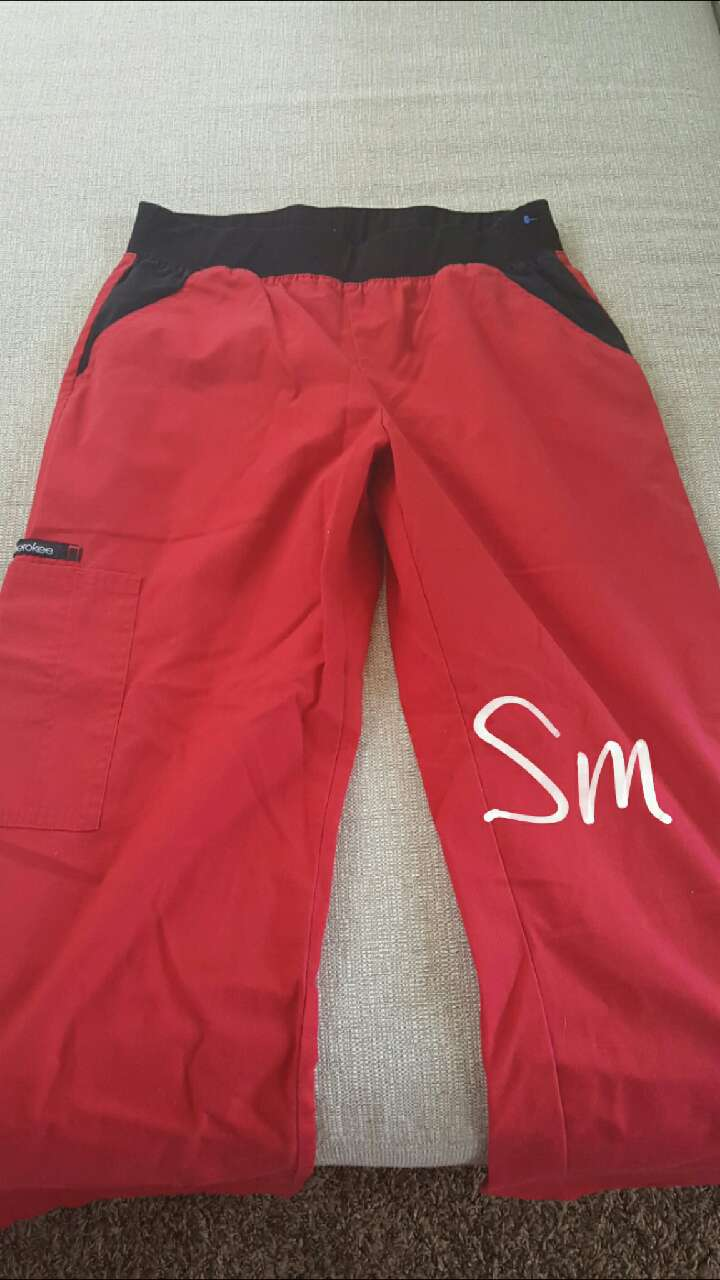 Scrub Pant- Red w/ Black Waistline