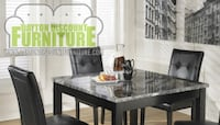 Black Square Dining Room Table with 4 Upholstered Chairs Vandalia
