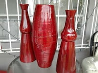 3 red clay pots