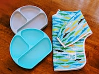 Bumkins Silicone Grip Dishes & Sleeved Bib Lexington