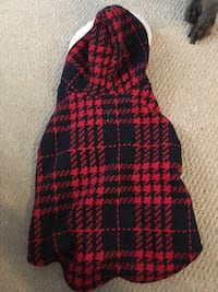 Red & blue plaid dog hoodie (Med)