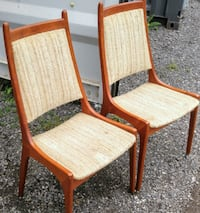 4 Solid Teak Chairs Mid-Century need recovering Oakville