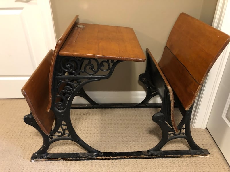 Antique double larger student desk with ink bottle holder! ac699035-d2ac-4e13-95a8-e4cfb63be0b7