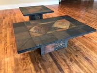 Matching Slate Stone Tile Coffee and Side Table Set