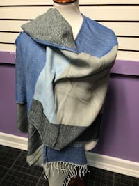Blue n Beige Color Block Wrap