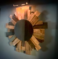 Unbelievable Sunburst Wall Art w/ mirror    with all wooden accents.