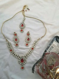red and gold Indian  jewelry set