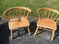 two small children's pine (all wood) chairs null