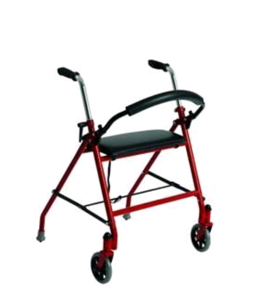 Photo Drive Medical Two Wheeled Walker with Seat, Red