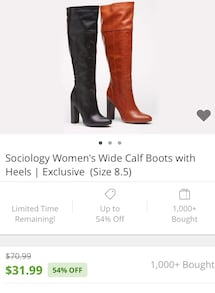 Wide Calf High boots - Size 6