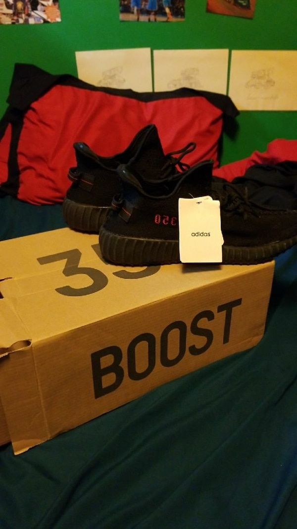 b924d5fedcd12 Used pair of pirate black Adidas Yeezy Boost Sply-350 with box for sale in  Hanover - letgo
