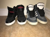 Two pairs of black and white adidas sneakers Brampton, L6V