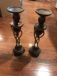 Two black metal candle holders Odenton