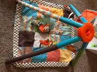 green, brown, and orange shape and floral print activity gym Toano, 23168