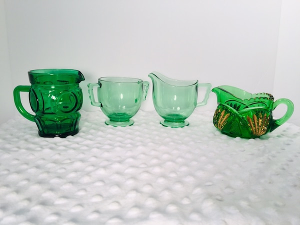 Vintage 4 pc Forrest Green Glass Creamer & Sugar Bundle 6e8541ae-579d-4b49-93de-bab8d9efed70