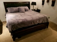 black wooden bed frame with white bed sheet Glenn Heights, 75154
