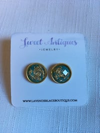 Teal and Gold stud earrings