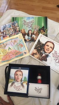 Brand new. Never used.  Opened to take pictures.  DVD bluray. Wizard of Oz 75th anniversary edition kit. Limited edition. Book. Trinkets. Map.   Amazon selling for 105$ link https://www.amazon.com/Wizard-Oz-Anniversary-Limited-Collectors/dp/B00CNW9ZOA Fremont, 94555