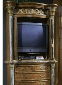 brown wooden TV hutch with flat screen television Gambrills, 21054