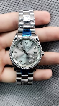 round silver-colored Rolex analog watch with link bracelet Bloomfield, 07003