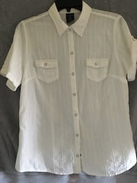 Blouse Faded Glory, white  cotton Med - $5 Mississauga, L5L 5P5