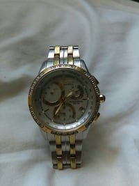 round gold-colored chronograph watch with link bracelet Redding, 96001