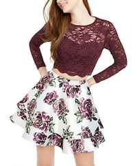 Juniors Lace Top and Floral Skirt