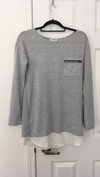 Gray crew-neck long-sleeve sweater