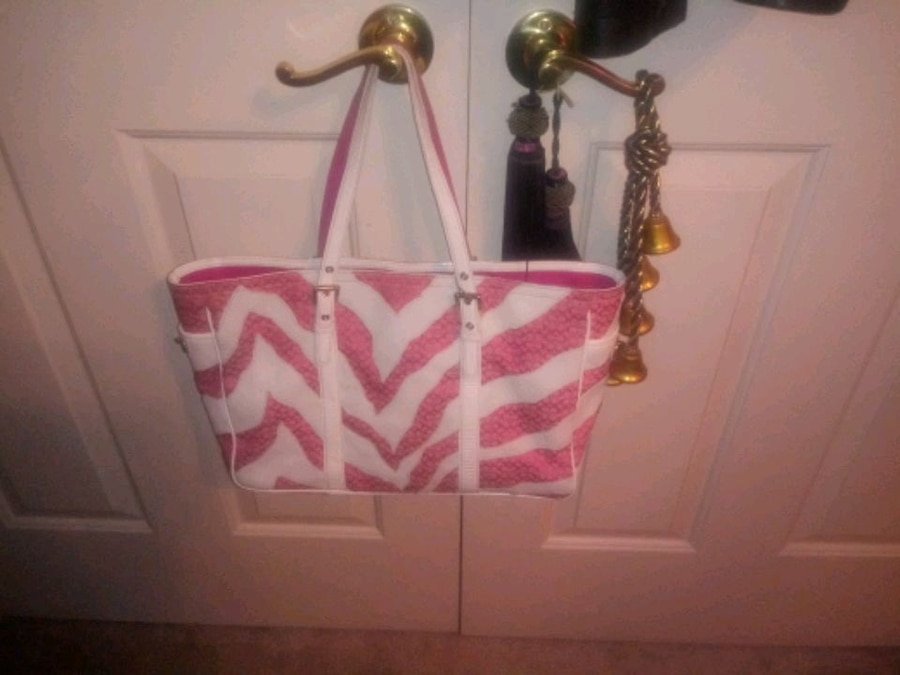Photo Coach Pink and White purse