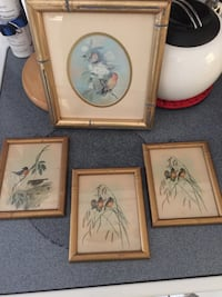 4 gold frame bird pictures