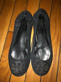 Pair of black leather flats