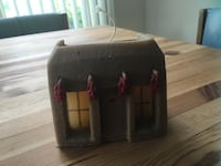 """Adobe house sand candle, 4"""" tall"""