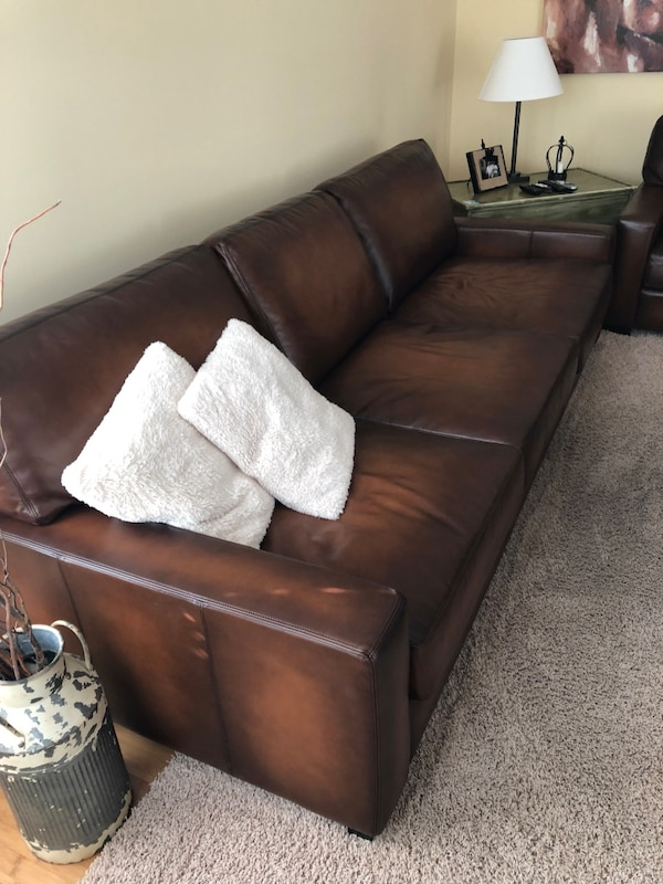 Pottery Barn Leather Sofa And Armchair