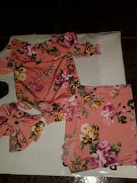 white and pink floral shirt and pants Laredo