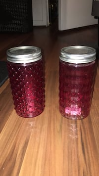 2 Pink Textured Mason Jars (tall) Manassas, 20109