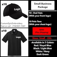 Small Business Hat and Polo embroidery package Manalapan