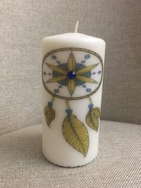 yellow and blue dreamcatcher printed white pillar candle