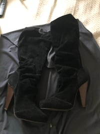 black suede chunky heeled boots Baltimore, 21213