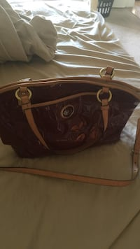 Brown leather two way tote bag