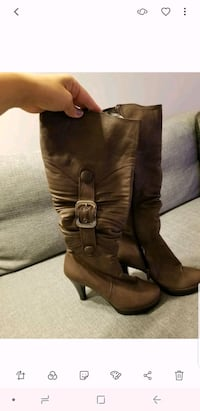 brown leather side zip boots Calgary, T3M 2C6