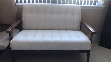 Loveseat — White leather with wood details