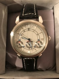 Etica Black Leather Watch Blue Point, 11715