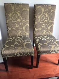 Set of 2 wooden upholstered accent chairs- good condition $60 Markham, L3R 9L4