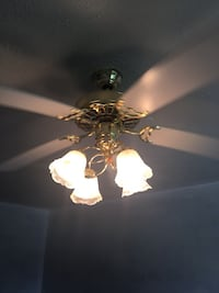 White and gold 5 blade ceiling fan with light Lawrence, 46236